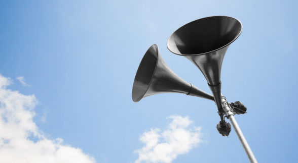 Industrial Megaphone against a blue summer sky
