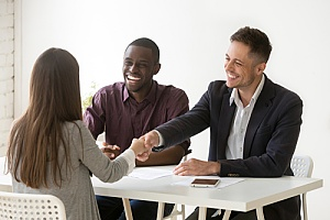 direct hire professionals conducting a new employee interview