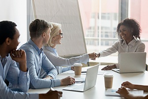 outsourced HR professionals conducting an employee interview