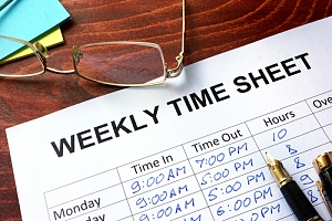a weekly time sheet for an employee who works overtime to receive more comp time