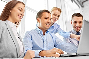 a team of human resource professionals creating a plan for a business