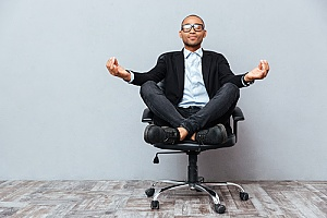 business employee relaxing in office chair
