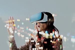 a woman using virtual reality