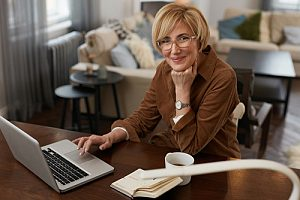 Older woman working remotely
