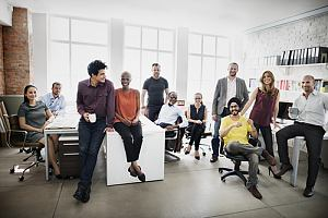Diverse employee team in office