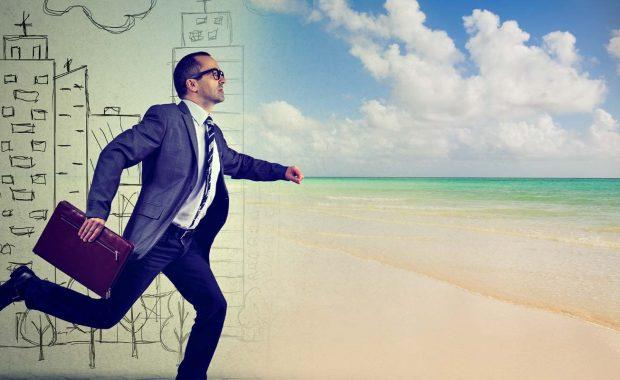 Employee running to beach for PTO