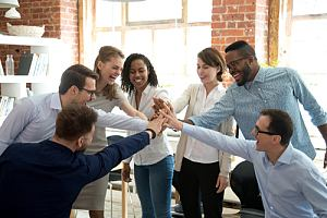 Positive corporate culture in office