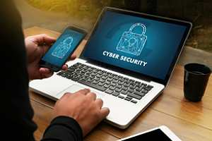 Employee practicing cyber security