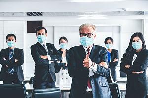 Employee workforce behind boss