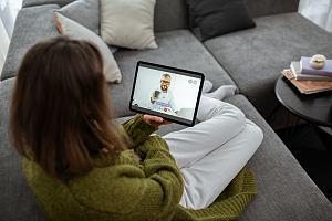 Woman on telemedicine visit