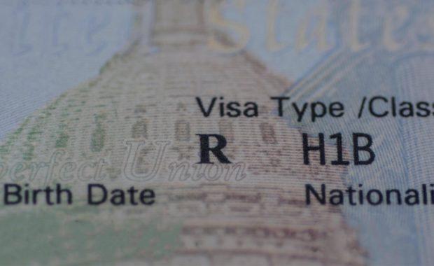 Closeup of H-1B visa