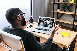 Employee on virtual work call