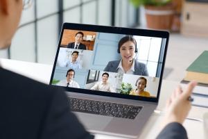 office of people meeting online