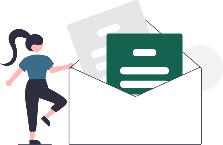 Graphic of woman holding an envelope