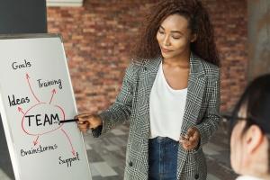 Consultant going over leadership development lessons