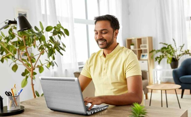 person working from home with hr issues