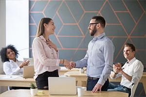Employee receiving recognition for effort